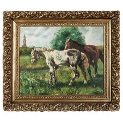 Antique Framed Dutch Oil Painting on Canvas by G. Diervjck, Dated 1907