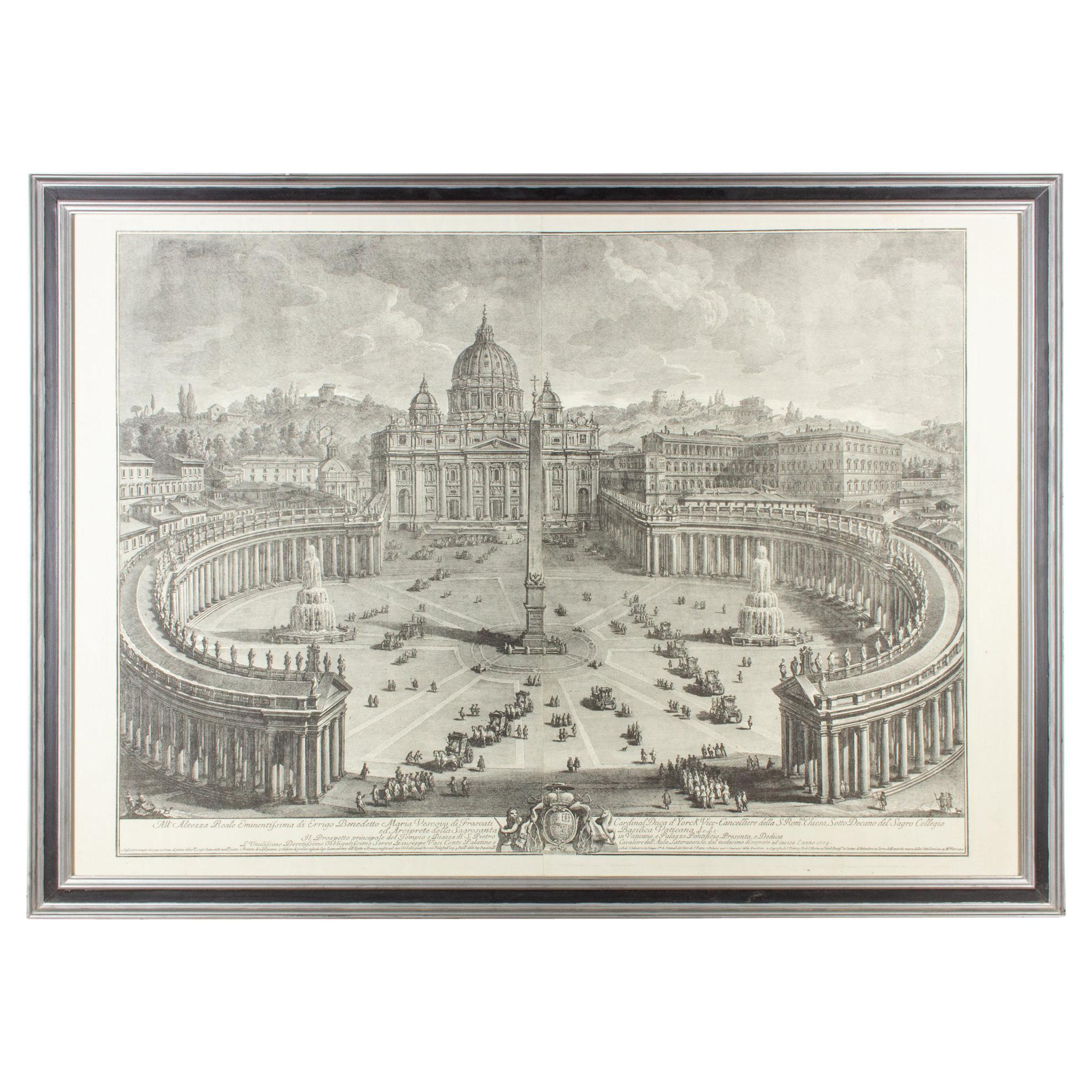 Antique Framed Etching of St. Peter's Basilica by Giuseppe Vasi found in France