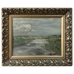 Antique Framed Impressionist Oil Painting on Board