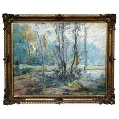 Antique Framed Impressionist Oil Painting on Canvas