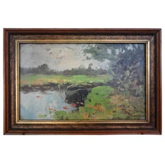 Antique Framed Impressionistic Oil Painting on Board