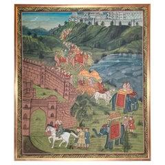"Antique Framed ""Indian Folk Procession"" Oil Painting on Linen"