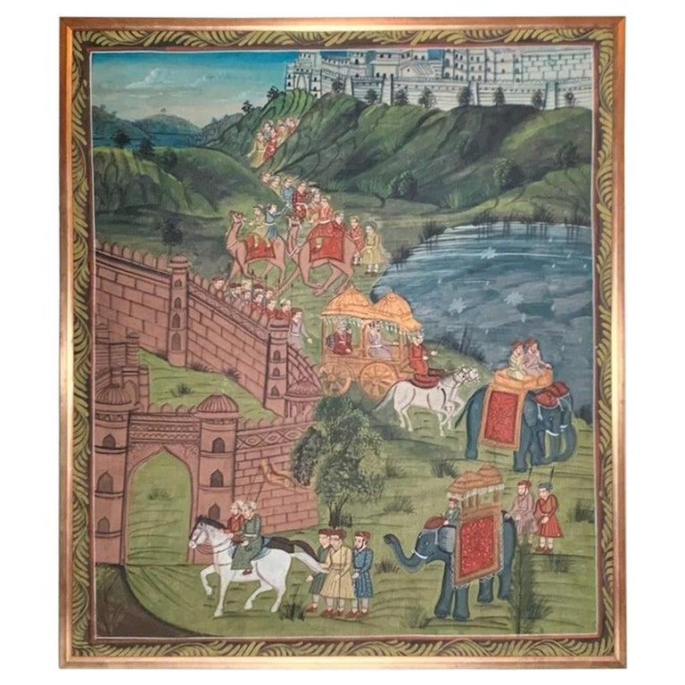 "Antique Framed ""Indian Folk Procession"" Oil Painting on Linen For Sale"