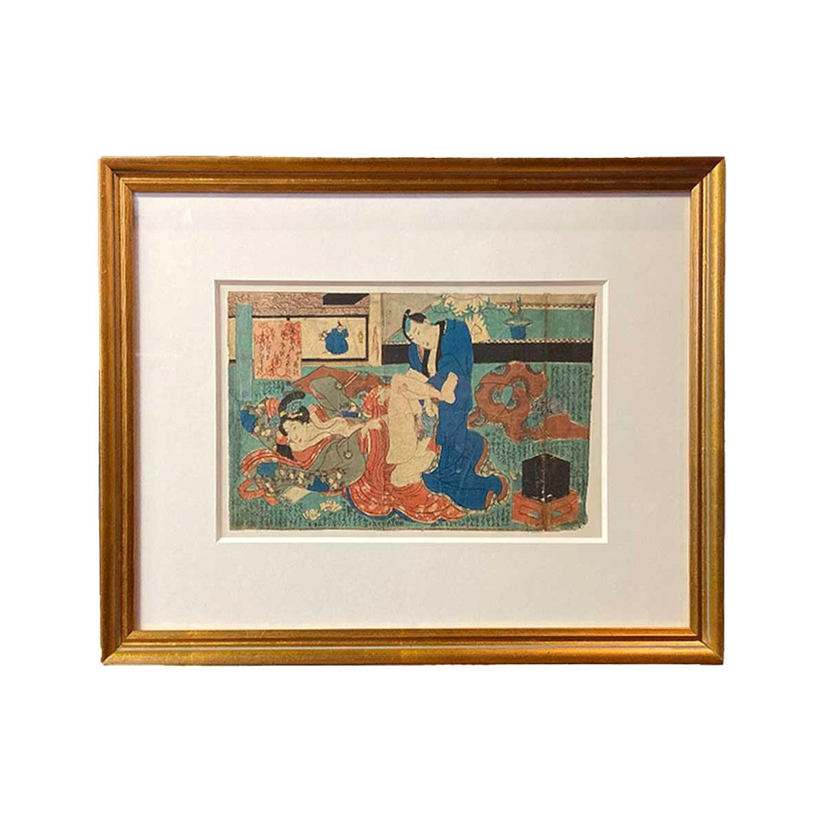 Antique Framed Japanese Shunga Woodblock Print of a Couple Making Love