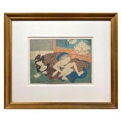 Antique Framed Japanese Shunga Woodblock Print of Two Women Making Love