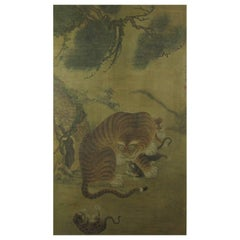 Antique Framed Korean Tiger Painting