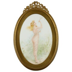 Antique Framed KPM School Painting on Porcelain of Woman with Bubbles circa 1890