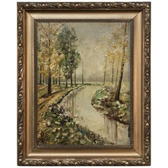 Antique Framed Landscape Oil Painting on Canvas