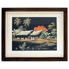 Antique Framed Oil on Masonite Painting Signed by William Edouard Scott Haitian