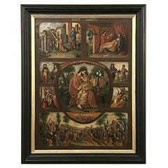 Antique Framed Oil Painting, Montage of Saint Joseph's Life