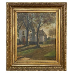 Antique Framed Oil Painting of Village of Vlassenbroek