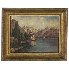Antique Framed Oil Painting on Board by Jean Rogel
