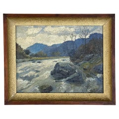 Antique Framed Oil Painting on Board by Lucien Houbiers '1876-1943'