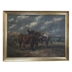 Antique Framed Oil Painting on Board by Paul Schouten, '1860-1922'