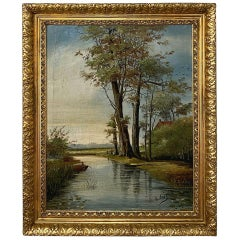 Antique Framed Oil Painting on Canvas, 'Bord de Riviere' by E. Fayt