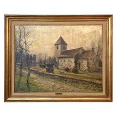 Antique Framed Oil Painting on Canvas by Adolphe Keller