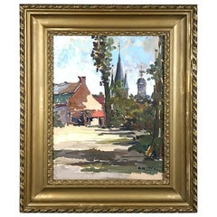 Antique Framed Oil Painting on Canvas by Anne-Marie Ledoux