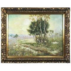 Antique Framed Oil Painting on Canvas by C. V. Santweghs