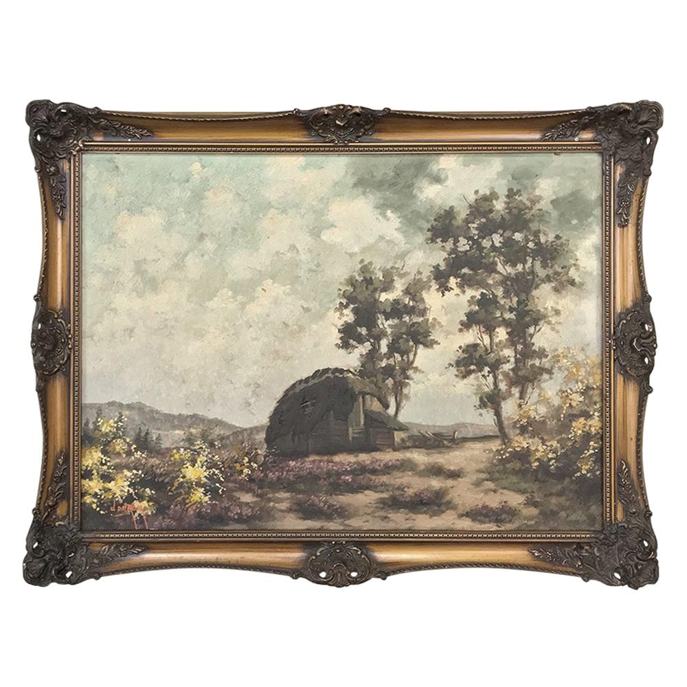 Antique Framed Oil Painting on Canvas by De Kok