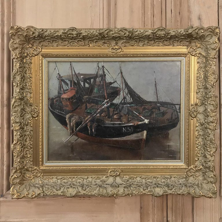 This remarkable framed oil painting on canvas by Isidor Saeys (1911-1989) displays the artist's command of the nautical form, exhibited in its original frame. Saeys is known as a master of landscapes, marine scenes, still lifes and home interiors.