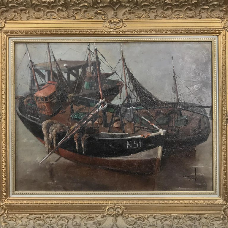 Belgian Antique Framed Oil Painting on Canvas by Isidor Saeys, circa 1940s For Sale