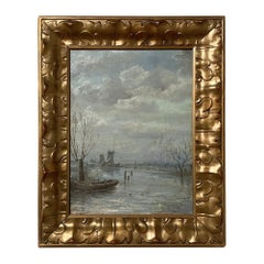 Antique Framed Oil Painting on Canvas by J.F. Hoppenbrouwers