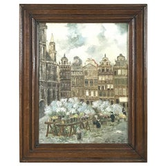 Antique Framed Oil Painting on Canvas by Jos Baumans Dated 1931