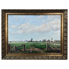 Antique Framed Oil Painting on Canvas by Joseph Tilleux