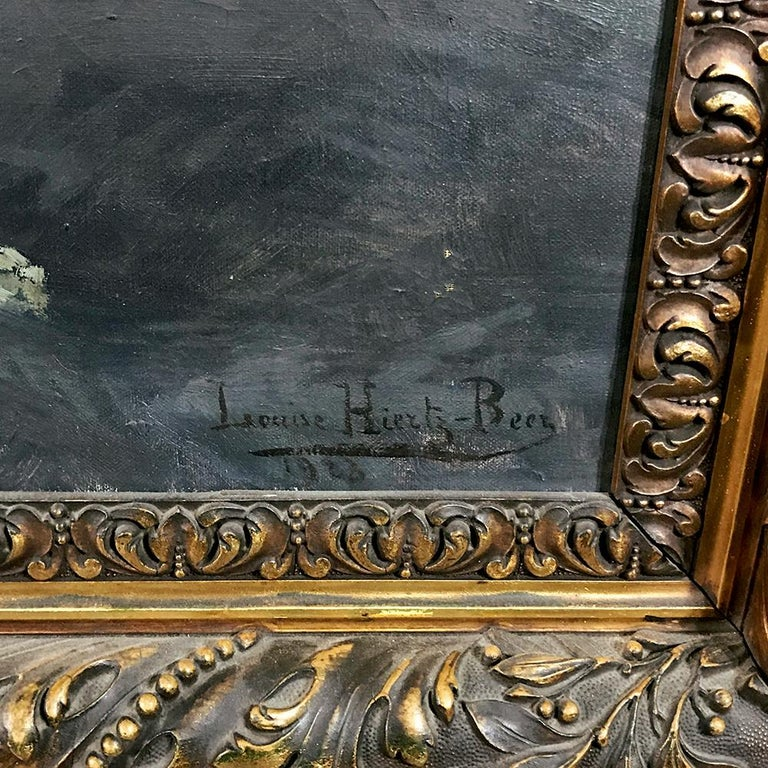 Antique Framed Oil Painting on Canvas by Louise Hiertz-Beer, circa 1923 For Sale 4