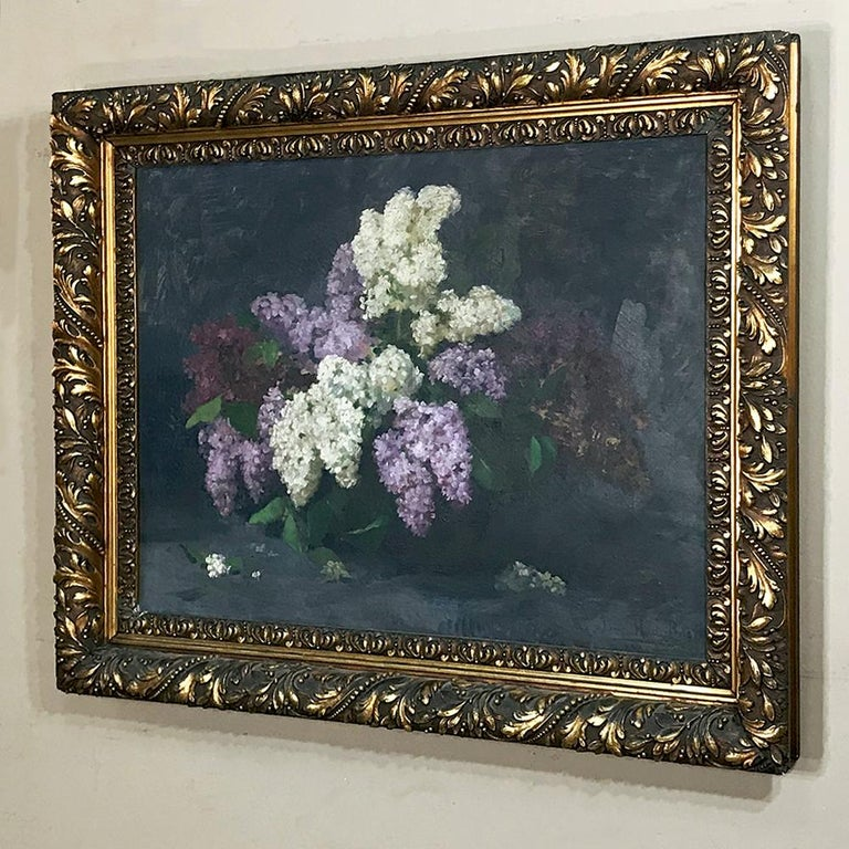 German Antique Framed Oil Painting on Canvas by Louise Hiertz-Beer, circa 1923 For Sale