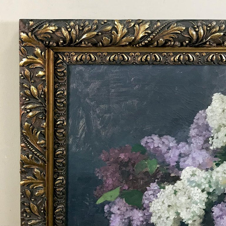 Hand-Painted Antique Framed Oil Painting on Canvas by Louise Hiertz-Beer, circa 1923 For Sale