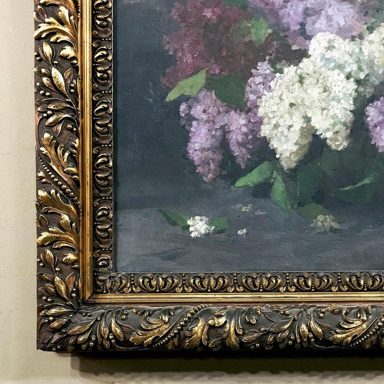 Antique Framed Oil Painting on Canvas by Louise Hiertz-Beer, circa 1923 In Good Condition For Sale In Dallas, TX