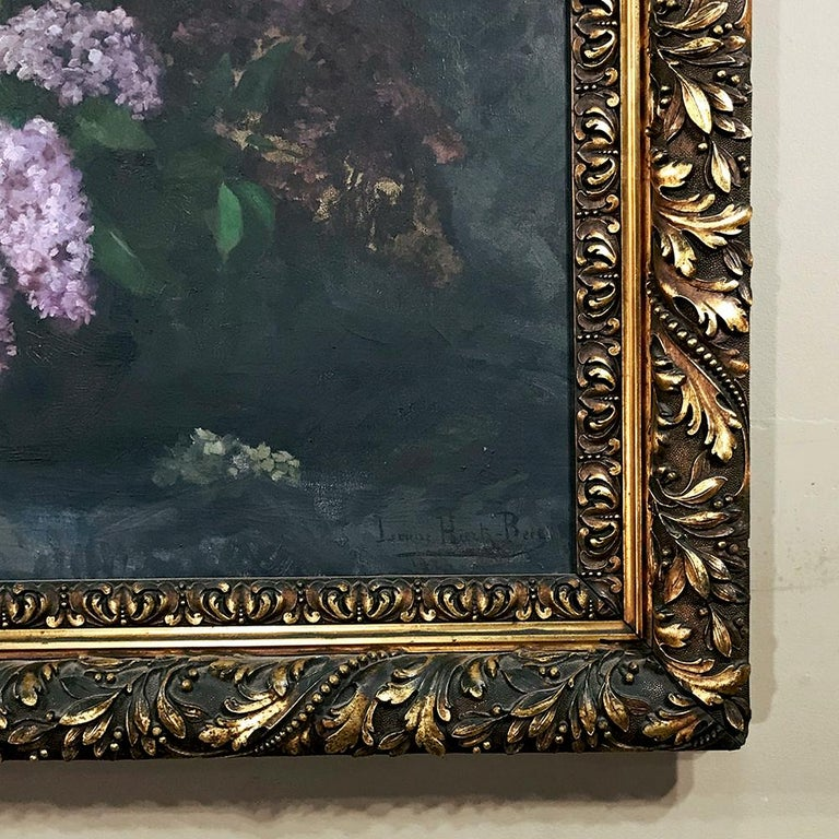 Antique Framed Oil Painting on Canvas by Louise Hiertz-Beer, circa 1923 For Sale 1