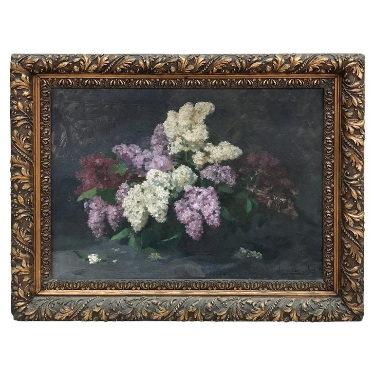 Antique Framed Oil Painting on Canvas by Louise Hiertz-Beer, circa 1923 For Sale