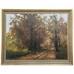 Antique Framed Oil Painting on Canvas by Pauwels