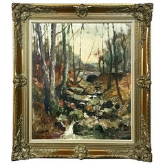 Antique Framed Oil Painting on Canvas by Toussaint