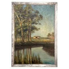 Antique Framed Oil Painting on Canvas Dated 1929