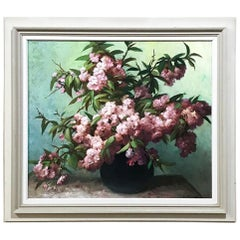 Antique Framed Oil Painting on Canvas Floral Still Life by E. Devos