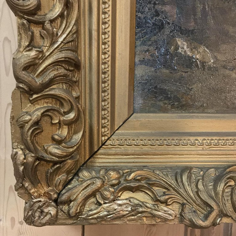 Antique Framed Oil Painting on Canvas For Sale 3