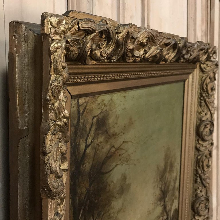 Antique Framed Oil Painting on Canvas For Sale 4
