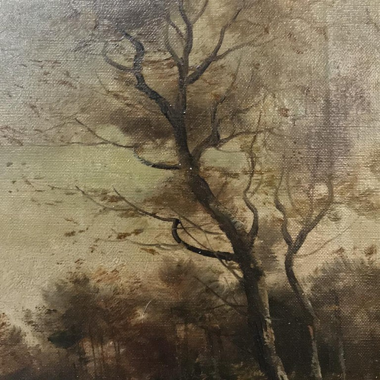 Antique Framed Oil Painting on Canvas In Good Condition For Sale In Dallas, TX
