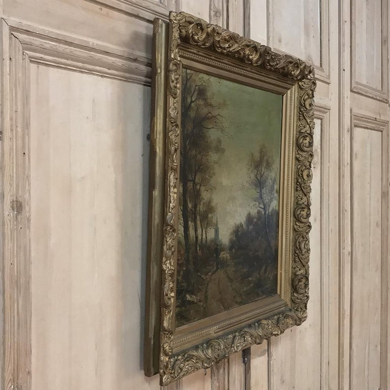 Antique Framed Oil Painting on Canvas For Sale 1