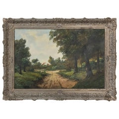 Antique Framed Oil Painting on Canvas, Landscape