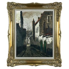 Antique Framed Oil Painting on Canvas of Beguinage by L. Bosmans