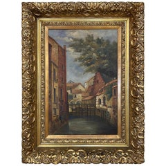 Antique Framed Oil Painting on Canvas of the City of Ghent