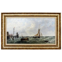 Antique Framed Oil Painting Signed by J. Meadows Nautical Scene Dated 1856 1800s