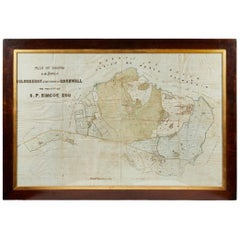 Antique Framed Pen and Ink on Fabric Map of Cornwall from Early 19th Century