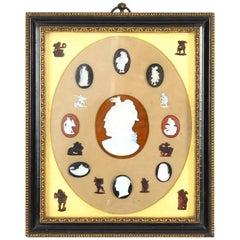 Antique Framed Set Grand Tour Gem Cameo Intaglios 19th Century