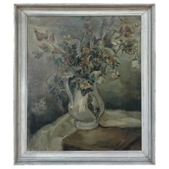 Antique Framed Still Life Oil Painting on Canvas