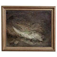 Antique Framed Still Life Oil Painting on Canvas